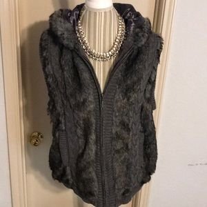 Hooded Faux Fur Sweater Vest